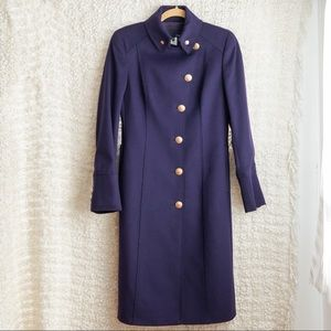 Les Copains Stand Collar Navy Military Coat 42EU